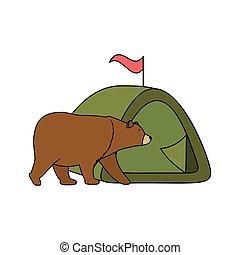 vad, grizzly tart, kempingezés sátor