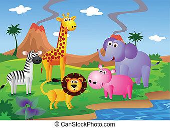 vad, karikatúra, állat