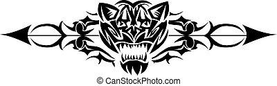 vad macska, engraving., tervezés, szüret, tetovál