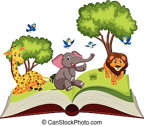 vad, nyitott könyv, állatok