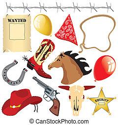 vad nyugat, születésnap, clipart, cowboy
