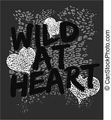 vad, szív, grafikus, nyomtat, állat