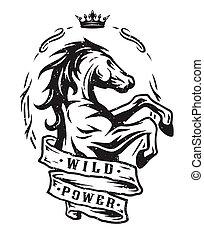 vad, szüret, horse., emblem.