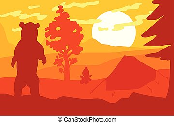 vad, tábor, erdő, hord