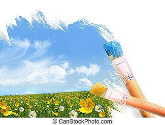 vad virág, tele, festmény, mező