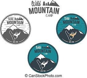 vadon, állhatatos, hódeszka, külső, jel, design., hegy, tél, kempingezés, szüret, utazás, csípőre szabott, erdő, húzott, insignia., badge., felfedező, jelkép., labels., kéz, kaland, ikon, tábor, vektor