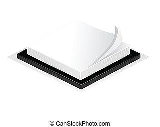 vagy, állás, ábra, elszigetelt, azt, íróasztal, notepad, fehér