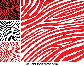 vagy, bőr, motívum, nyomtat, -, zebra, gyűjtés, piros, állat, fehér
