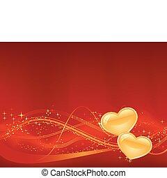 vagy, day., -e, tervezés, third., háttér, nagy, ékezetez, piros, két, hullámos, romantikus, arany-, csillaggal díszít, motívum, piros, valentines, alacsonyabb