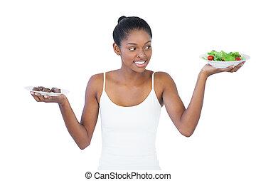vagy, elhatároz, nem, healthily, eszik, jókedvű, nő