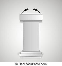 vagy, fokozat, tribün, speaker., gyakorlatias, áll, szürke, hajóorr, vita, microphones, icons., pódium, 3