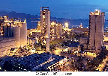 vagy, iparág, nehéz, szerkesztés, industry., beton, gyár, berendezés, cement