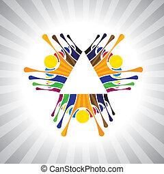vagy, játék, is, kedélyállapot, egyszerű, munkavállaló, munkás, together-, having móka, ünnepies, vektor, gyerekek, &, graphic., eleven, konzerv, izgatott, befog, gyerekek, csapatmunka, ábra, emberek, bizonyítás, ábrázol, ez