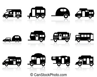 vagy, jelkép, kempingező, vontatott lakókocsi, furgon