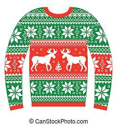 vagy, karácsony, ugró, csúnya, szvetter