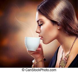 vagy, leány, tea, részeg kávécserje, gyönyörű