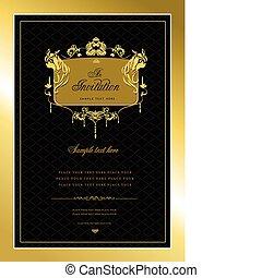 vagy, meghívás, card., arany, esküvő, v