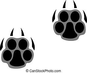 vagy, nagy, párduc, lábnyomok, tiger, átvezet, cat.