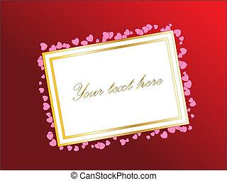 vagy, nap, hearts., valentine's, gradiens, szöveg, üres, -e, kártya, vektor, tervezés, háttér., theme., piros
