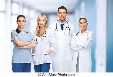 vagy, orvosok, csoport, fiatal, befog