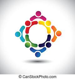 vagy, színes, játék, épület, is, barátság, vector., circles-, emberek, gyerekek, &, konzerv, összetett, befog, ikonok, ez, ábra, elfoglaltság, együtt, csoport, ábrázol, fogalom, s a többi
