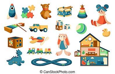 vagy, zenés, játék, toys., plüss, állhatatos, dollhouse., children., műszerek, gyerekek, játékszerek, vektor, állatok, games., lombfűrész, puzzles., kisbabák, nevelési, kifogásol, színes, csinos, karikatúra