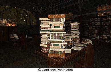 vakolás, öreg, könyvtár, 3