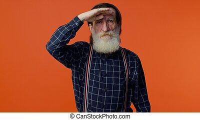 valaki, főrend, kutató, szemek, érett, birtok, nagyapa, távolság, öreg, kéz, gray-haired, felül