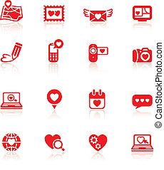 valentine's, állhatatos, nap, piros, ikonok