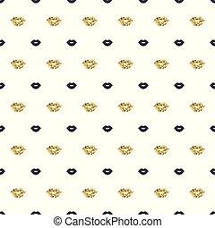 valentines, ajakrúzs, arany, motívum, shapes., seamless, day., háttér., ajkak, vektor, fekete, csókol, kiss., illustration.