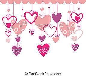 valentines, háttér, hall, nap