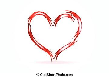 valentines, szív, jel, vektor, szeret