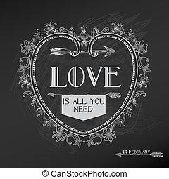 valentine's, szüret, -, szeret, vektor, tervezés, esküvő nap, kártya