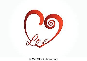 valentines, vektor, szeret szív, jel