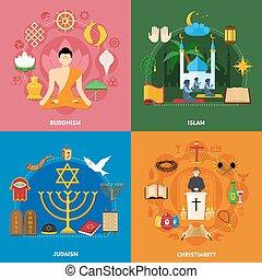 vallás, állhatatos, ikon