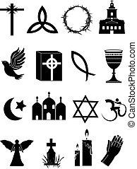 vallás, állhatatos, ikonok