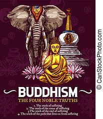 vallás, buddhizmus, vektor, skicc, jelkép