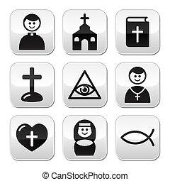 vallás, gombol, állhatatos, katolikus, templom