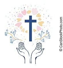 vallás, háttér, ábra, kereszténység