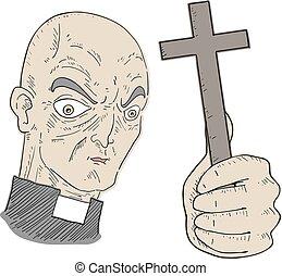 vallás, rajzol, ember