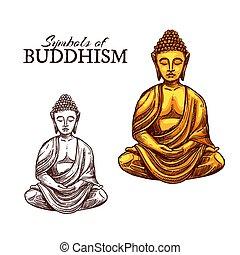vallás, skicc, buddha, jelkép, buddhizmus