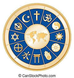 vallás, térkép, világ