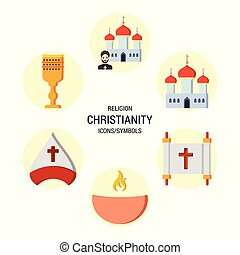 vallás, vektor, állhatatos, ikonok