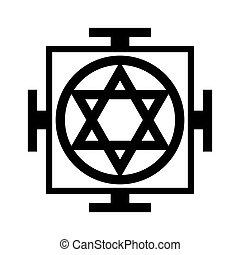 vallási, világegyetem, symbol), -, (oriental, diagram, mandala, vallásos