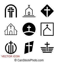 vallásos, cégtábla, vektor, templom, kereszténység, jelkép, ikonok