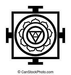 vallásos, diagram, mandala, vallási, (oriental, symbol), -, világegyetem