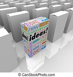 van, dobozok, különböző, -, egy, gondolat, termék, sok, doboz, ki