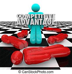 van, előny, emberek, nyertes, versenyképes, egyedül