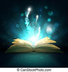 varázslatos, fény, könyv, vektor, pattog, nyílik