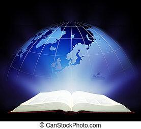 varázslatos, könyv, nyílik